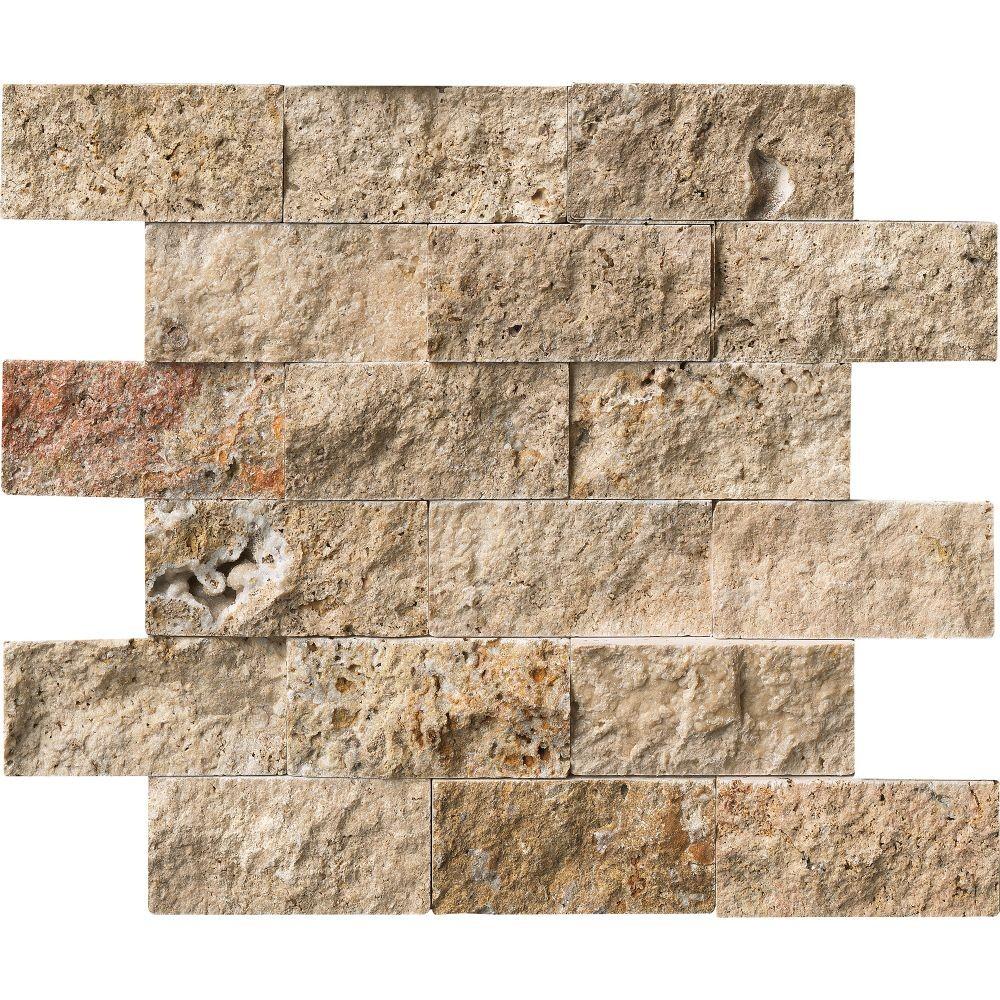 Tuscany Scabas 2x4 Split Face Travertine Mosaic