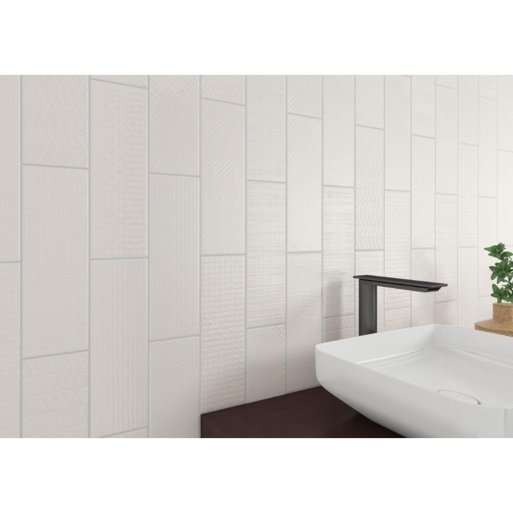 Urbano Crema 3D Mix 4x12 Glossy Ceramic Subway Tile