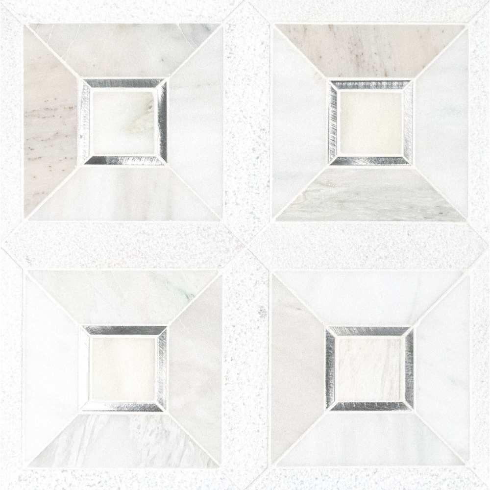 Verona Silver Geometric Pattern Mosaic Tile