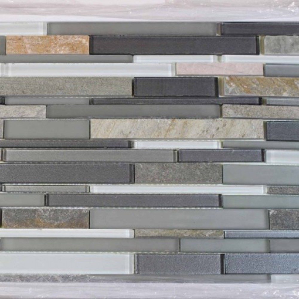 Modesto Glass Mix Random Strip 12x12 Mosaic