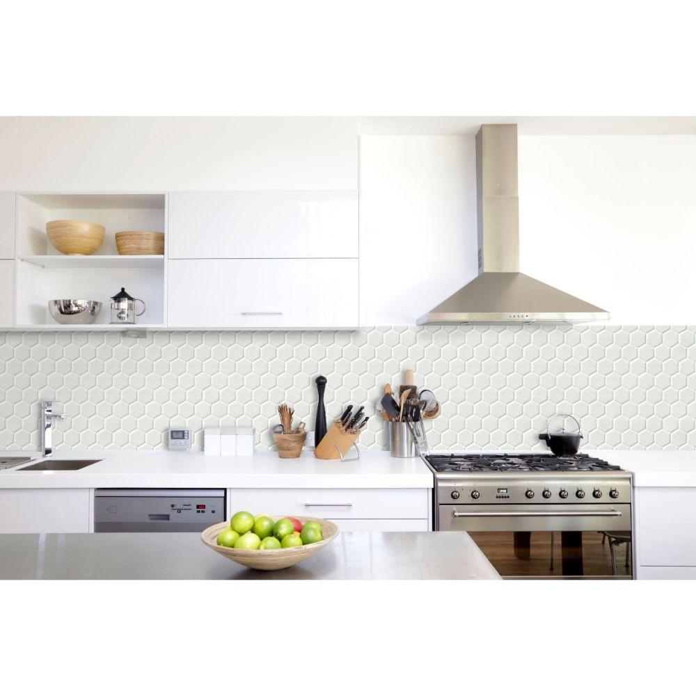 Whisper White 2x2 Glossy Hexagon Mosaic