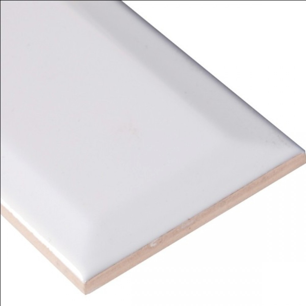 Domino White Glossy 3X6 Beveled Tile