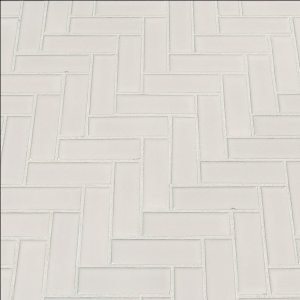 Domino White Glossy Herringbone Pattern Mosaic