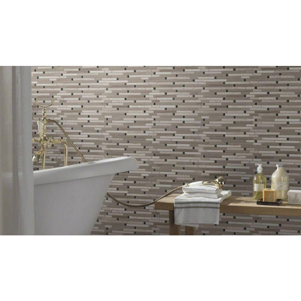 White Oak Blend Interlocking Honed Mosaic
