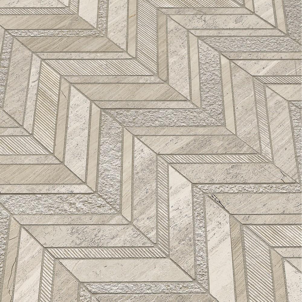 White Quarry Chevron 12x12 Pattern Marble Mosaic