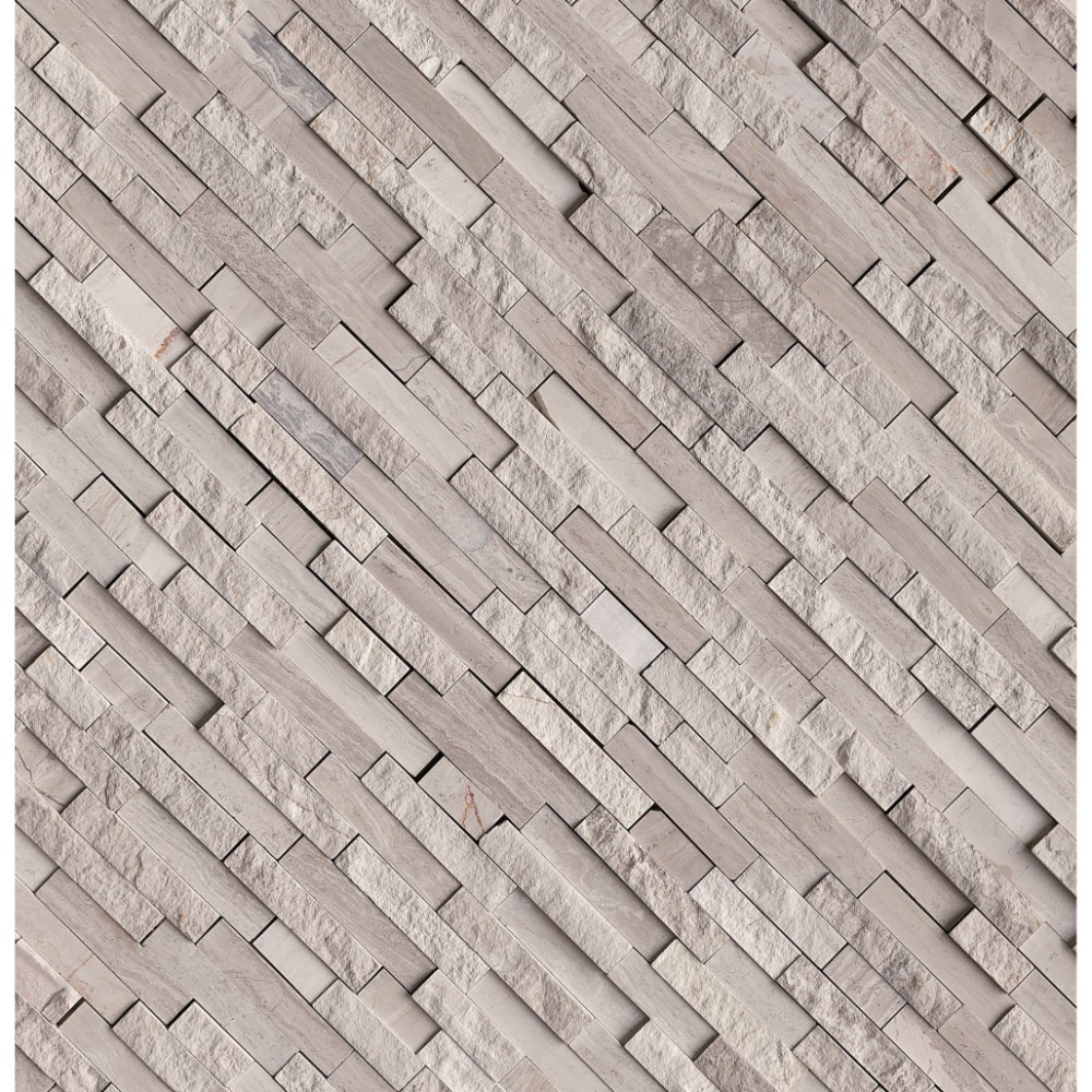 White Quarry Splitface Interlocking Pattern Marble Mosaic