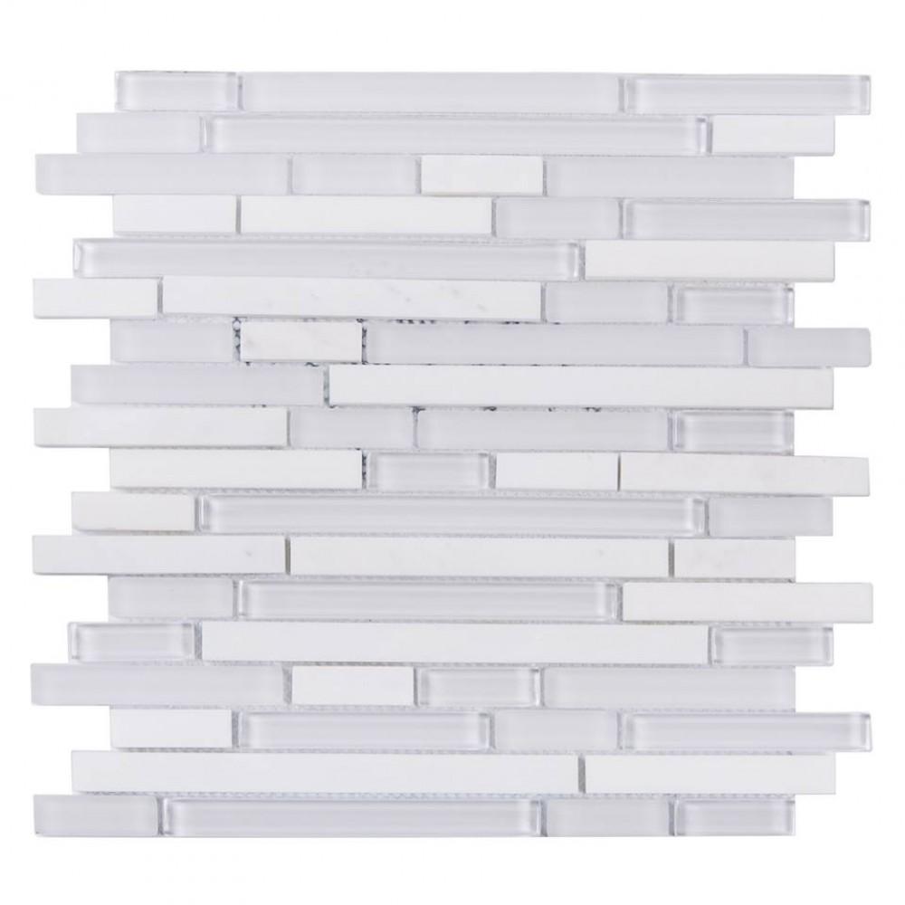 White Staccato Marble & Glass Mix Random Strip Mosaic