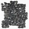 Black Pearl 12X12 Interlocking Polished Rounded Pebble Tile
