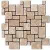 Durango Cream Mini Versailles Pattern Travertine Mosaic
