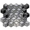 Silver Cube 3D 12x12 Interlocking Glass Mosaic