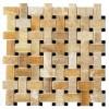 Yellow Onyx Basketweave Black Dot 12x12 Polished