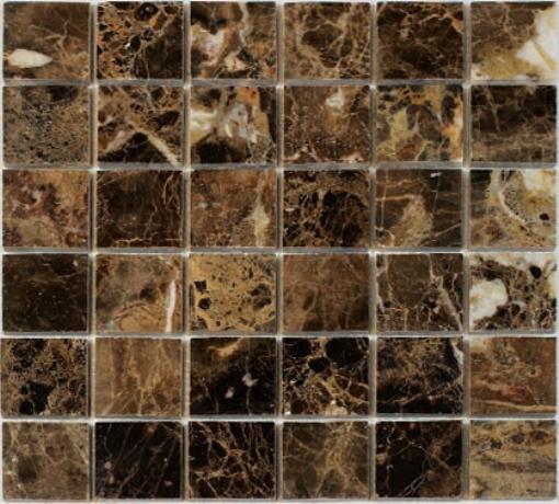 Spanish Dark Emperador 2x2 Polished Marble Mosaic
