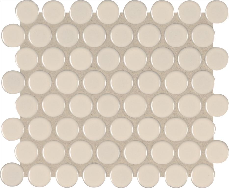 Domino Almond Glossy Penny Round Mosaic