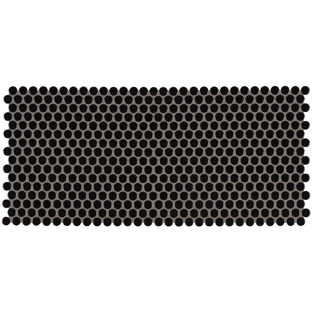 Domino Black Glossy Penny Round Mosaic