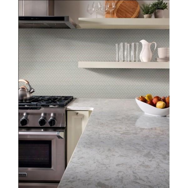 Domino Gray Glossy Herringbone Mosaic