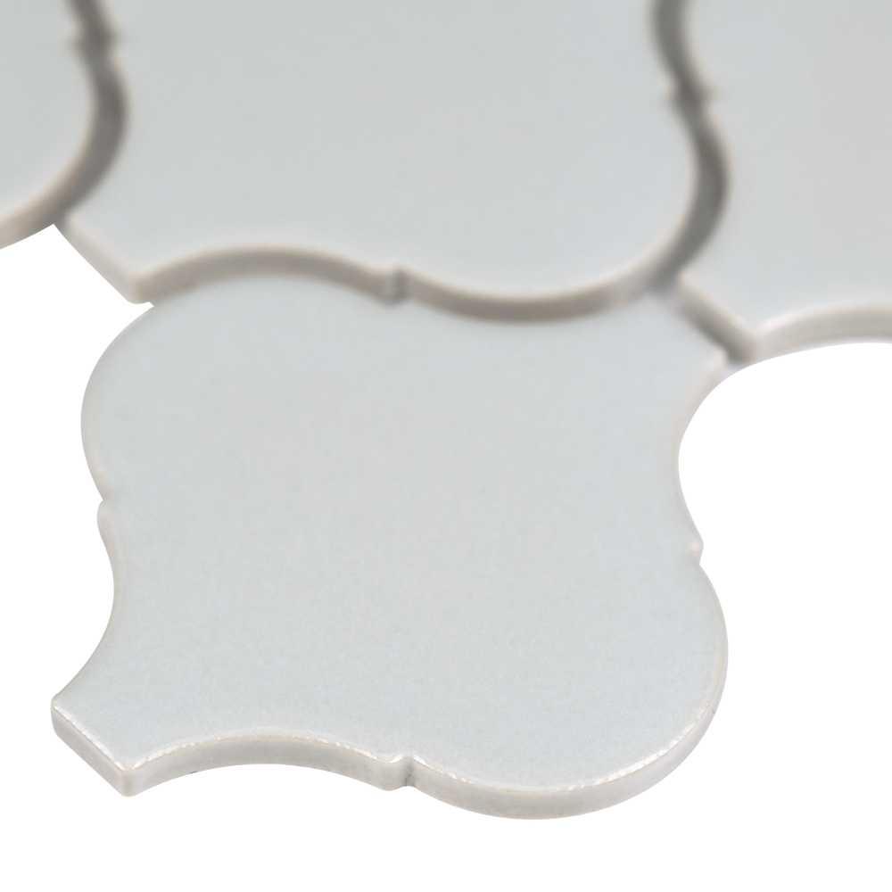 Domino Grey Glossy Arabesque Porcelain Mosaic 6mm Tile