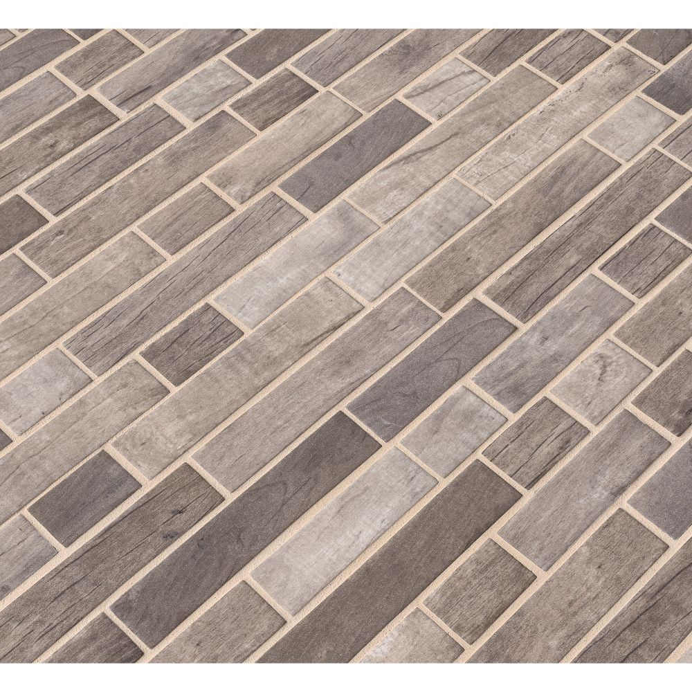 Driftwood Interlocking Pattern Recycled Glass Mosaic