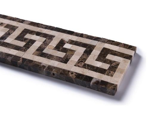 Emperador Dark Greek Key 4x12 Polished Border