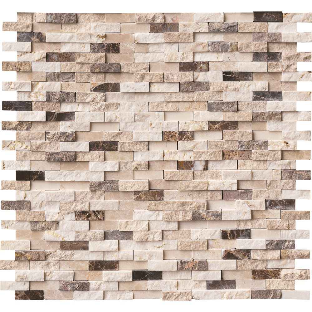 Emperador Dark Blend Interlocking Split face Pattern Mosaic