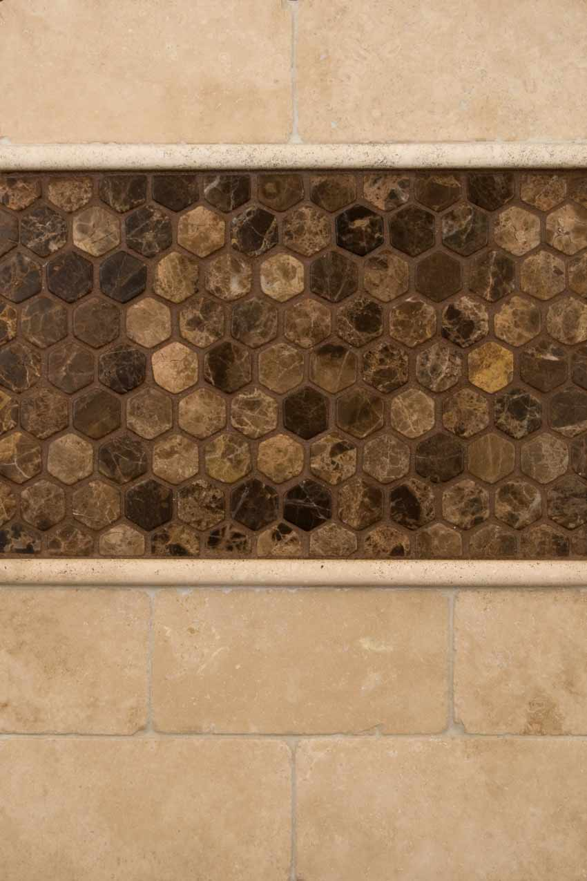 Emperador Dark 1x1 Tumbled hexagon Mosaic