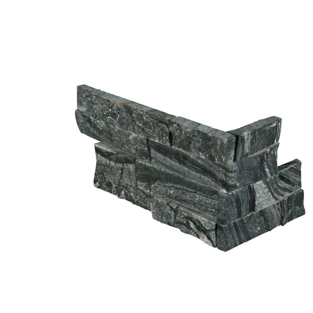 Glacial Black 6X12X6 Split Face Corner Ledger Panel
