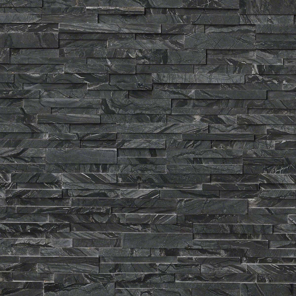 Glacial Black 6X24 3D Honed Ledger Panel