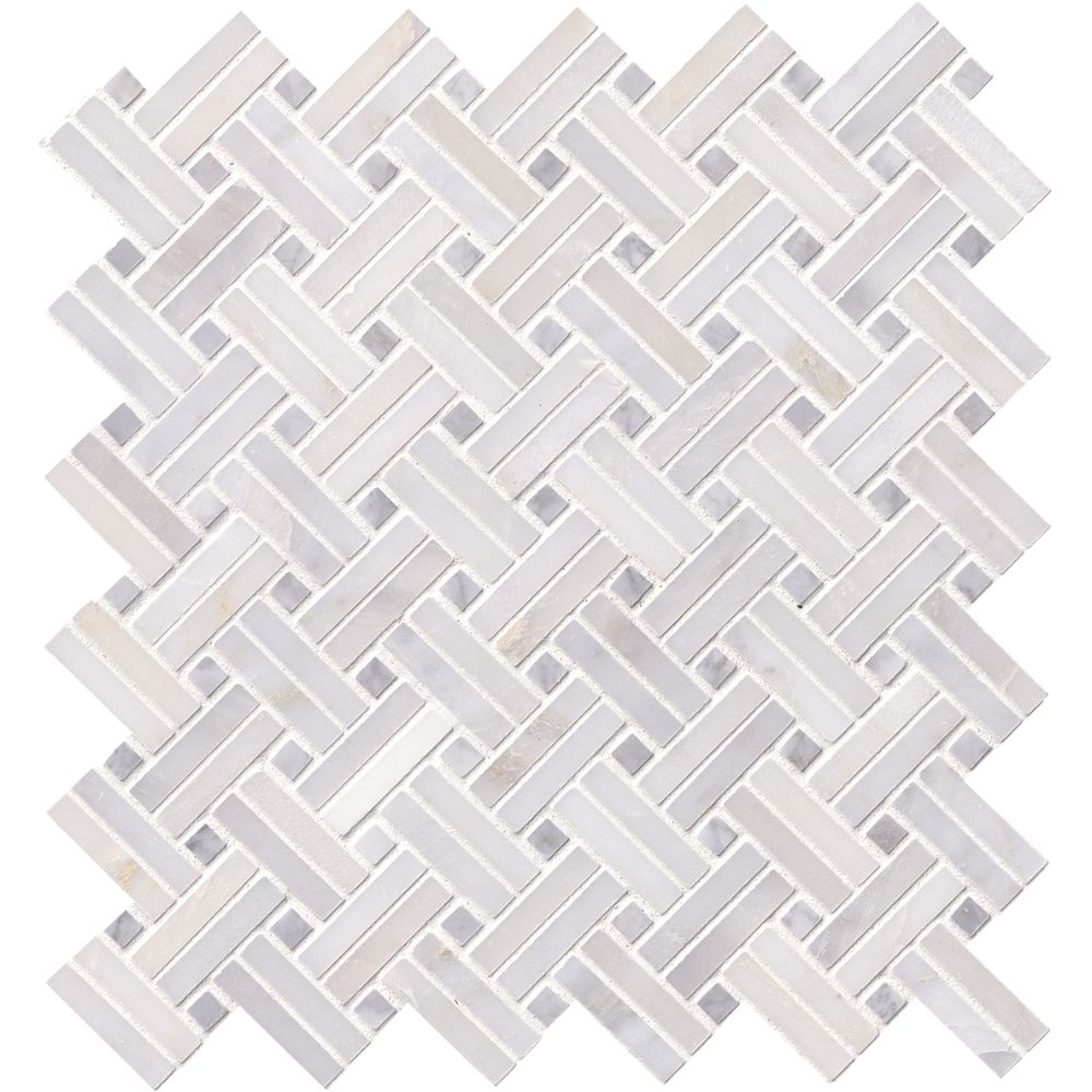 Greecian White With Gray Dot Basketweave Polished Pattern Mosaic