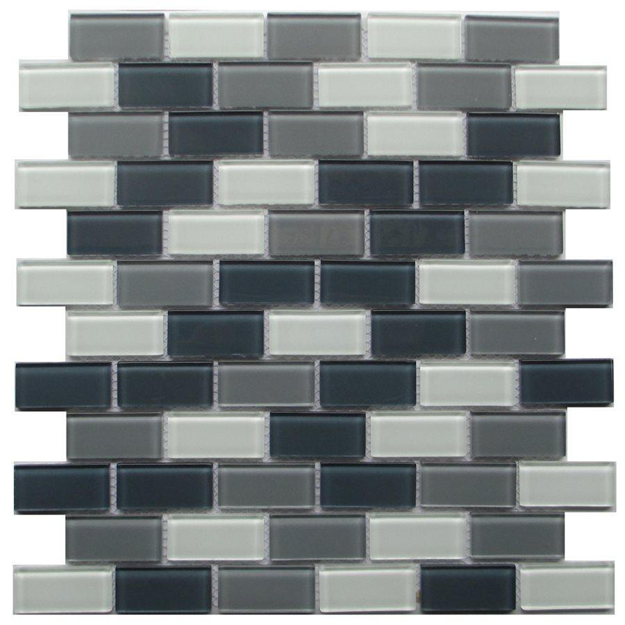 Grey Blend Brick 1x2 Glass Mosaic