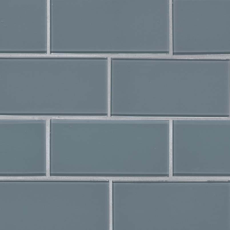 Harbor Gray 3X6 Glass Subway Tile