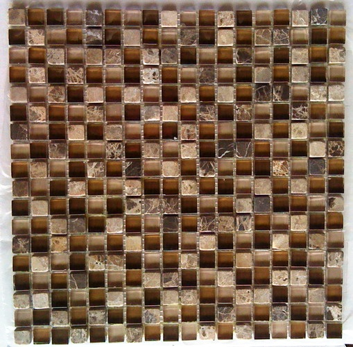 Glacier Brown 12x12 Glass Stone Blend Mosaic