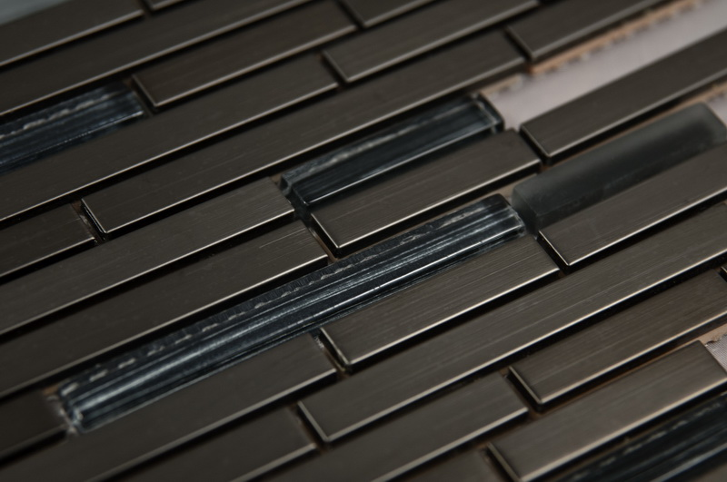 Stainless Steel DB Glass Mix 12x12 Interlock Mosaic