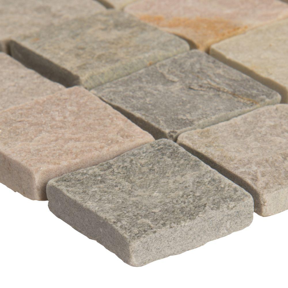Horizon 12X12 Tumbled Quartzite Mesh-Mounted Mosaic Tile