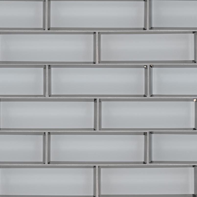 Ice Bevel Subway 2X6X8 Glass Mosaic Tile