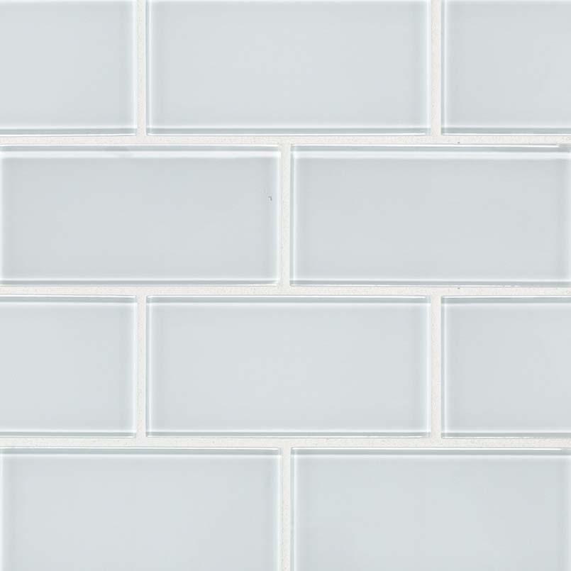 Ice White 3X6 Glass Subway Tile