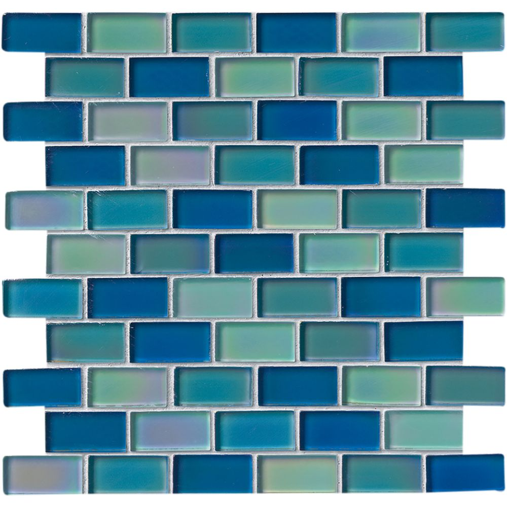 Iridescent Blue Blend 1x2 Glass Tile