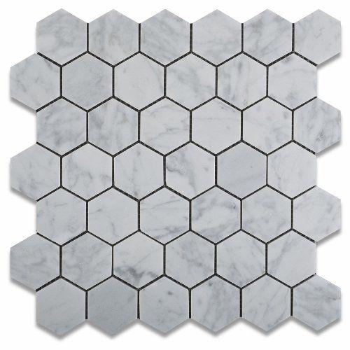 Carrara White 2X2 Hexagon Polished Mosaic
