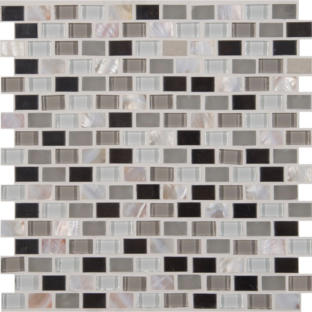 Keshi Blend Mini Brick Pattern Metal Mosaic