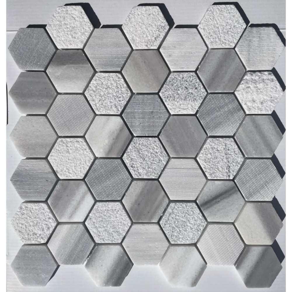 Marmara White 2X2 Hexagon Interlocking Multi Finish Mosaic Tile