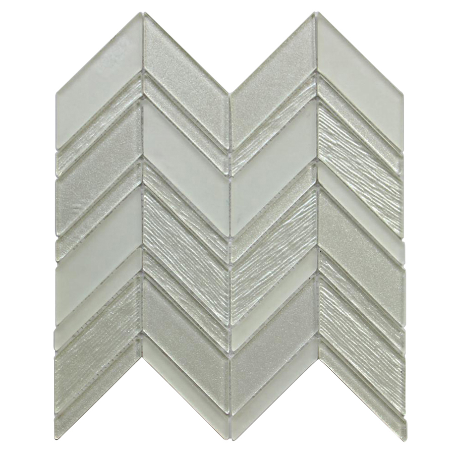 Metalic Silver Chevron 12X12 Glass Mosaic