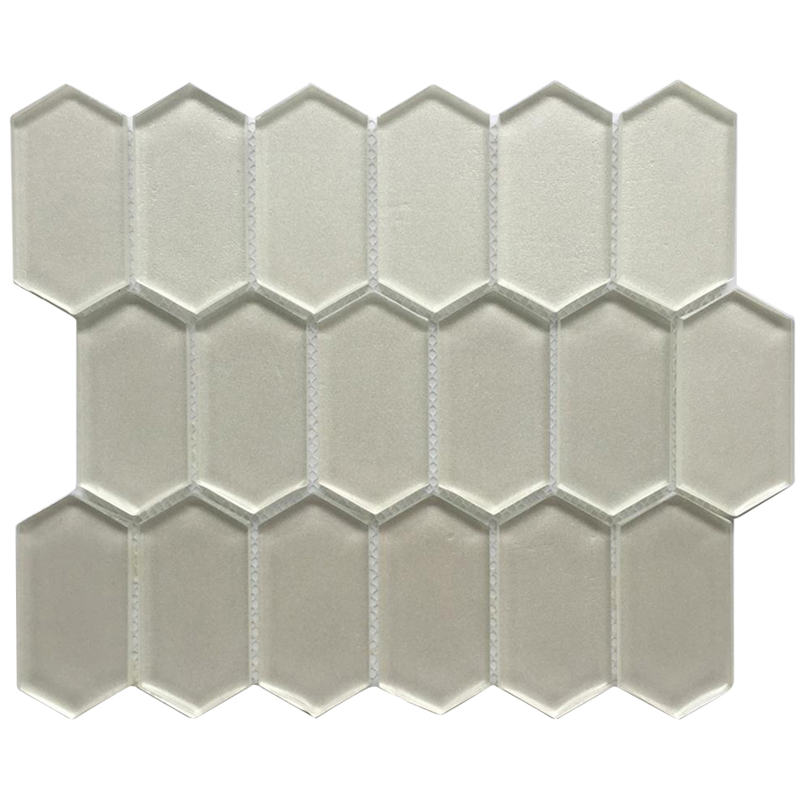 Metalic Silver Streched 10X12 Hexagon Glass Mosaic