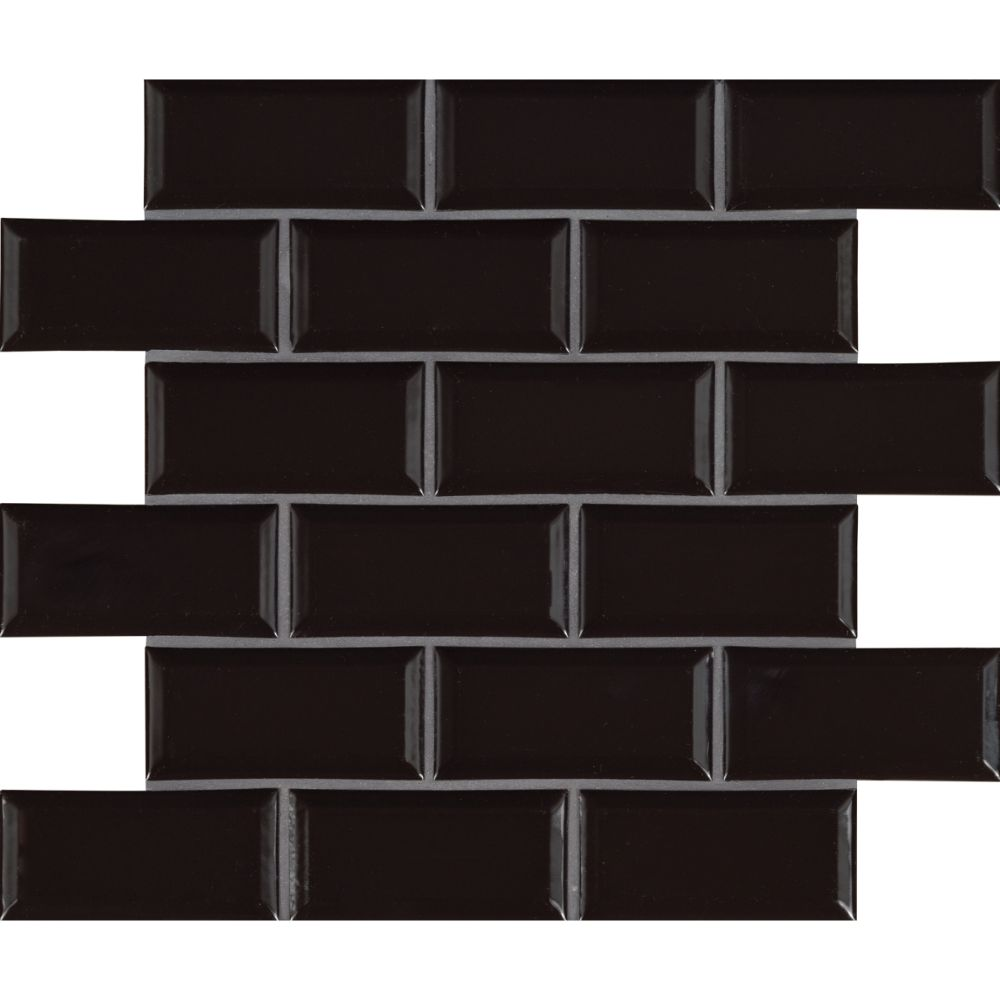 Midnight Black 2x4 Glossy Bevel Ceramic Subway Tile