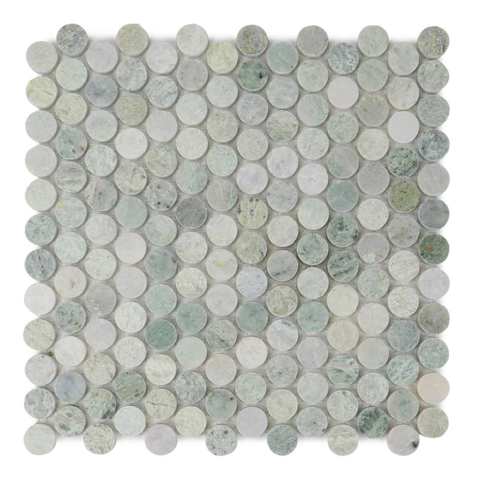Ming Green 1X1 Penny Round Polished Mosaic