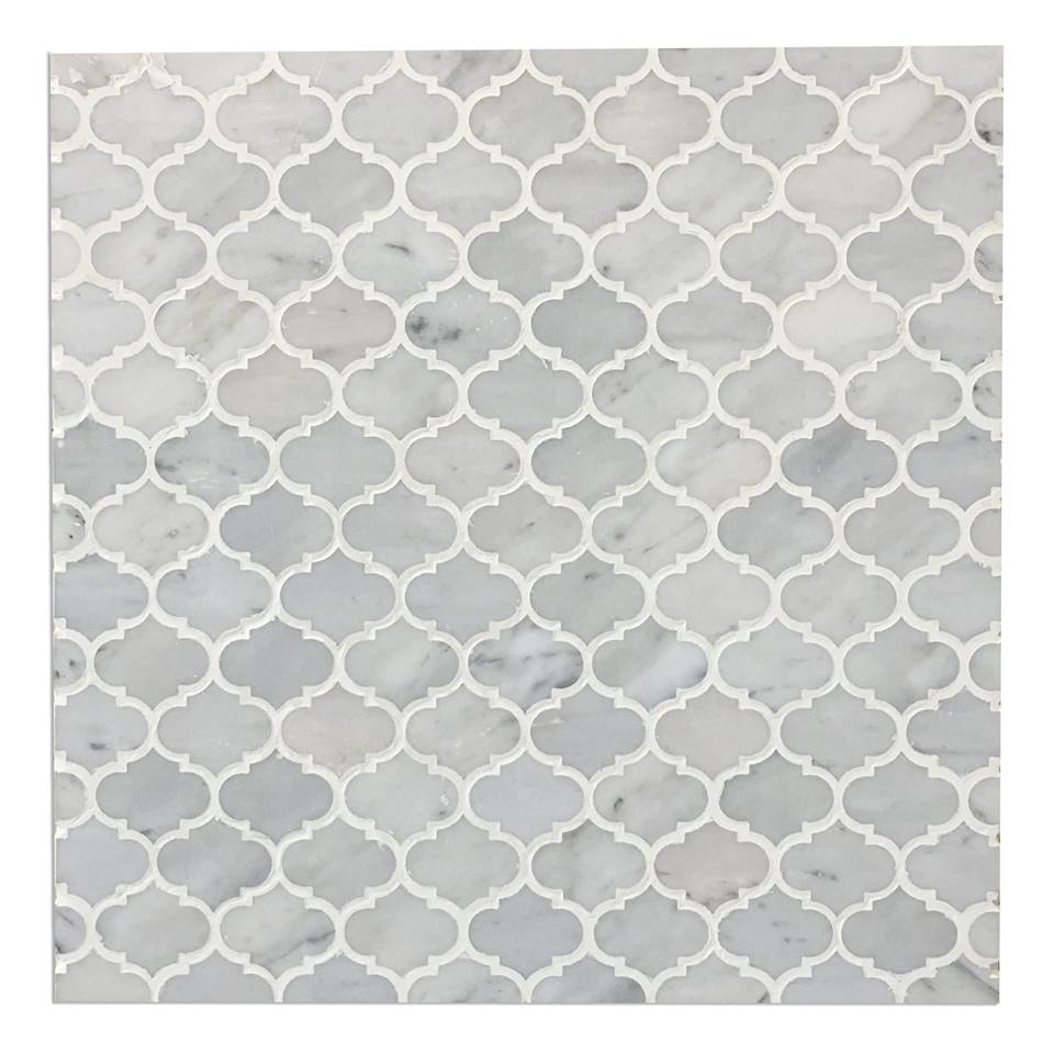 Mini Arabesque Carrara White Polished Waterjet Mosaic
