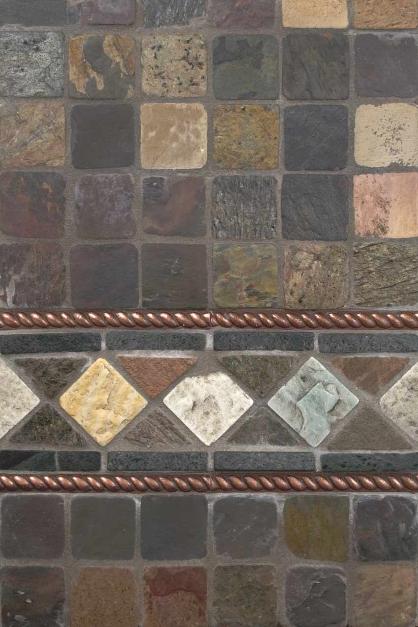 Mixed Color 12X12 Tumbled Slate Mesh-Mounted Mosaic Tile