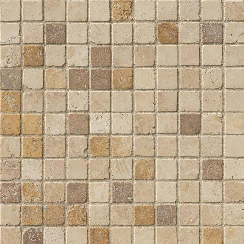 Mixed Travertine 1x1 Tumbled Travertine Mosaic