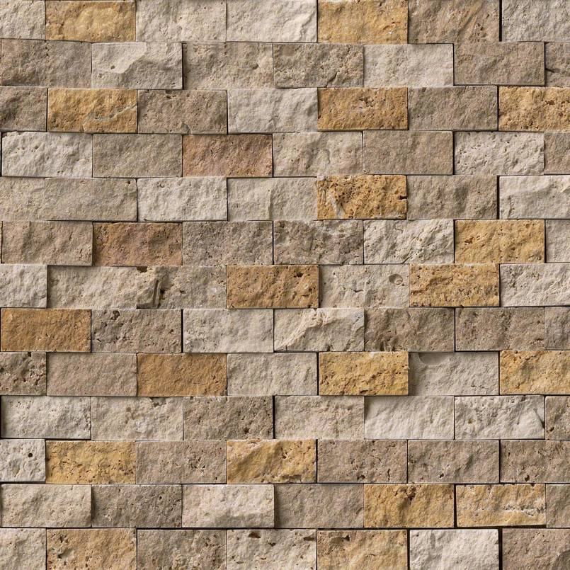 Mixed Travertine Blend 1x2 Split Face Mosaic