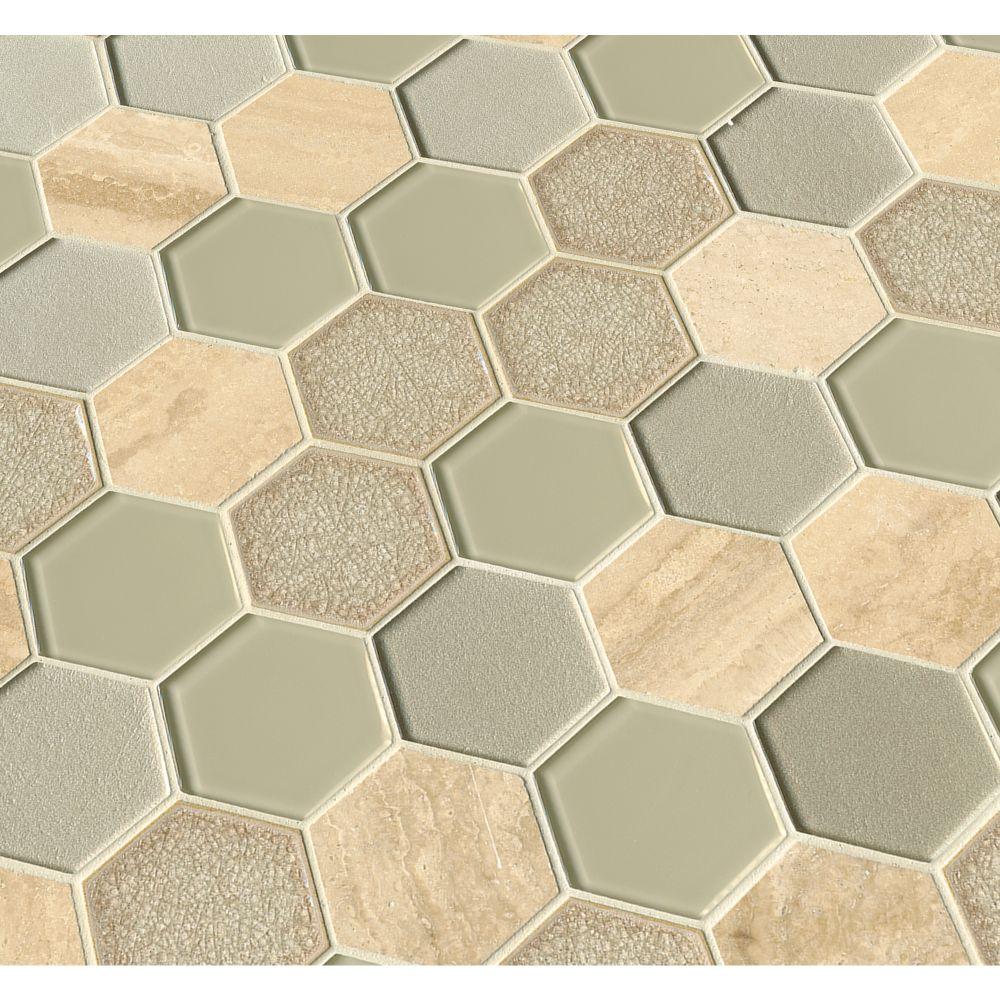Monterra Blend 3x3 Hexagon 8mm Glass Wall Tile