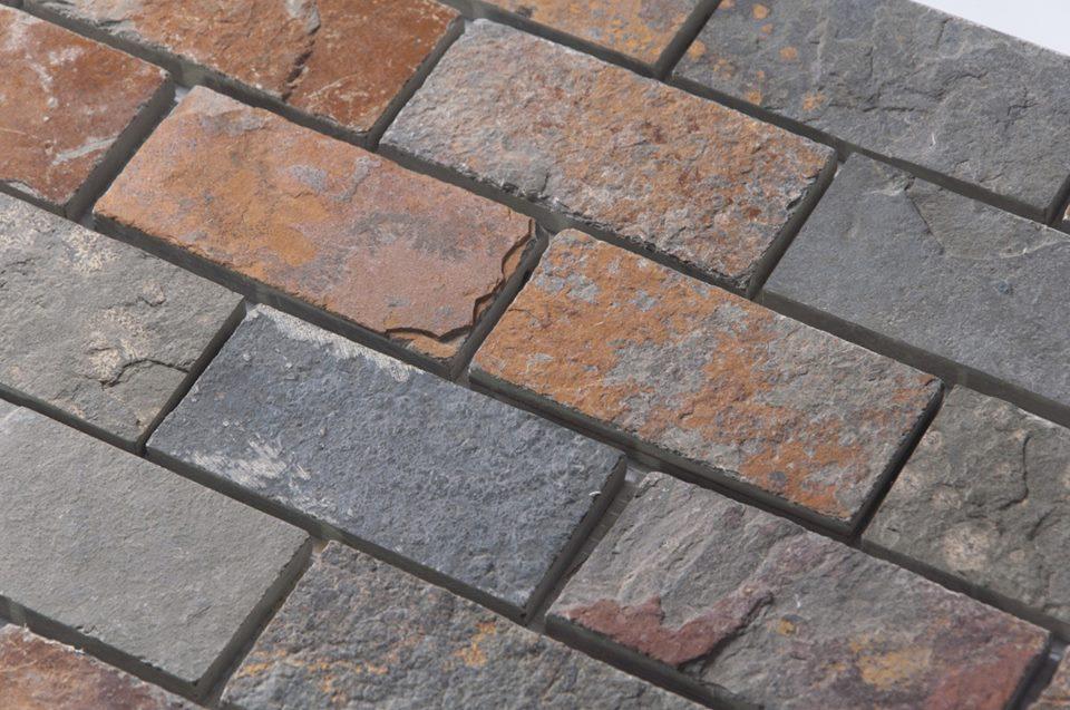 Multicolor Slate 2X4 Mosaic Backsplash Tile