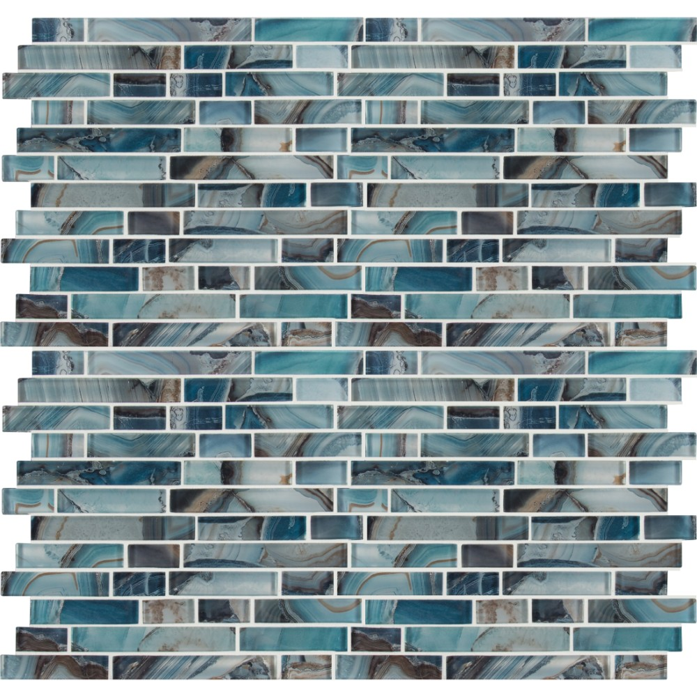 Night Sky Interlocking Pattern Crystallized Glass Mosaic