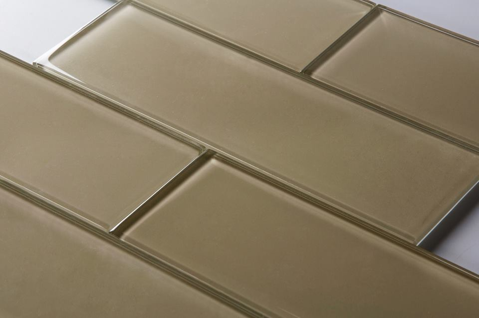 Nude Beige 4X12 Subway Glass Tile